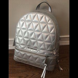 NWT Michael Kors Rhea Silver Backpack